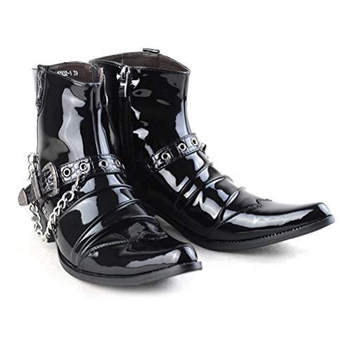 [CHIIKA] エンジニアブーツ メンズ 演出靴 ショートブーツ エナメル パンク V系 兄系 バックル 鎖 ドレープ ロングノーズ ポインテッドトゥ バックル サイドジップ 柔軟 防水 前傾姿勢 オシャレ フォーマル 演出 ブラック