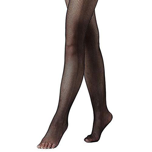 DANCEYOU Principiante Calcetines de Rejilla Medias Pantimedias Fishnet Tights Baile Pantyhose Cubrir le pie para Niña y Mujer Negro S/M
