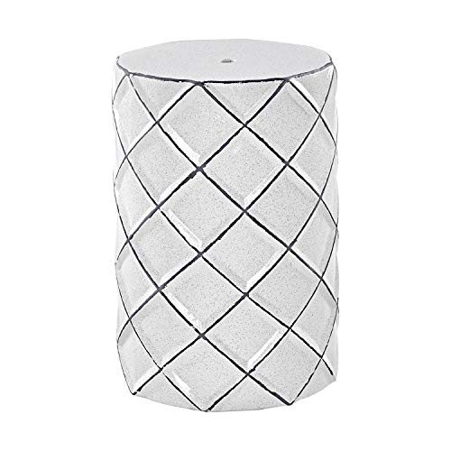 MOTINI Ceramic Stool Heavy Duty Garden Stool White for Patio Indoor Outdoor Home Decor Decorative Side Table, 17.5' x 12'