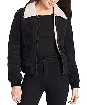 Levi s Women s Faux Leather Sherpa Aviator Bomber Jacket black X-Large