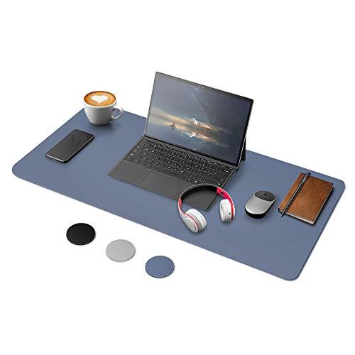 YOOFAN Alfombrilla de Escritorio de Doble Cara, Estera Protector de Escritorio Oficina de cuero PU, 80CM×40CM, Impermeable & Antideslizante Estera de Escritura Mouse Pad del Ordenador Portátil (Azul)