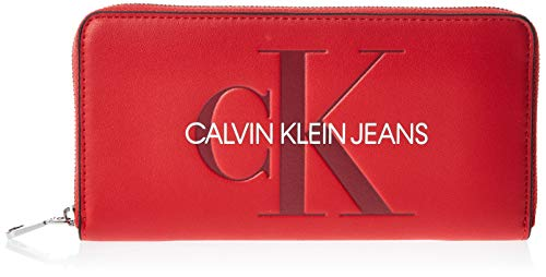 Calvin Klein Sculpted Large Ziparound - Portafogli Donna, Rosso (Barbados Cherry), 1x1x1 cm (W x H L)