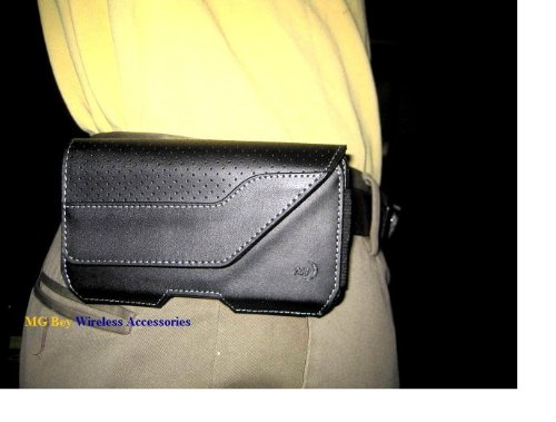Nite Ize Black Executive Genuine Leather Horizontal Heavy Duty Large Holster Pouch W/Rugged Fixed Belt Clip for Motorola Moto E 2015 (2nd generation LTE/CDMA)