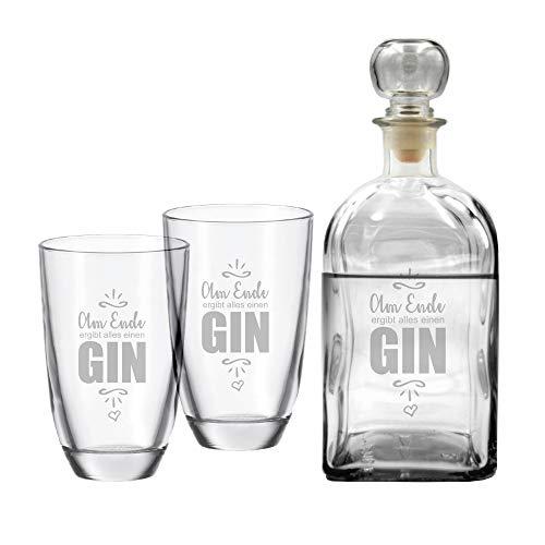 4you Design Set Gin-Karaffe & 2 Gin-Gläser Am Ende ergibt Alles einen Gin - Geschenkset - Ginliebhaber - edel Gravur - Geburtstagsgeschenk - originelle Geschenkidee