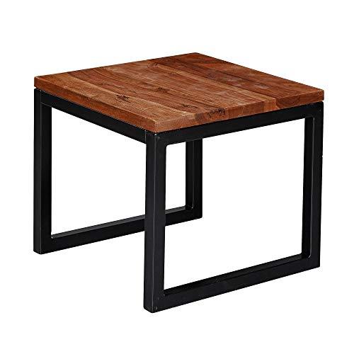 FineBuy Beistelltisch 45x40x45 cm Sheesham Massivholz/Metall Wohnzimmertisch | Industrial Style Designer Holztisch | Tisch Wohnzimmer | Kleiner Couchtisch Massiv