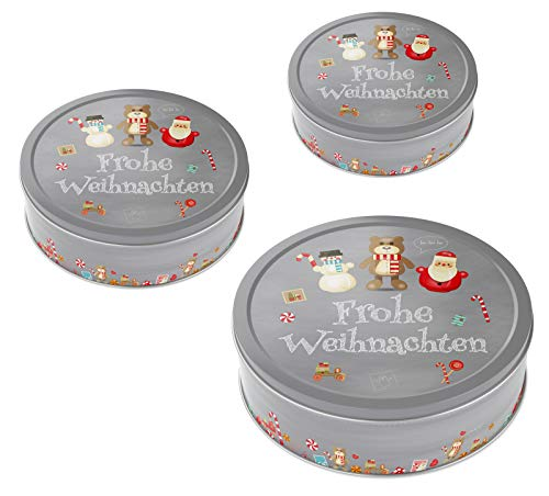 heimtexland ® Keksdosen Set 3-teilig Weihnachten Plätzchendose Gebäckdose Rund Weihachtstrio Typ658