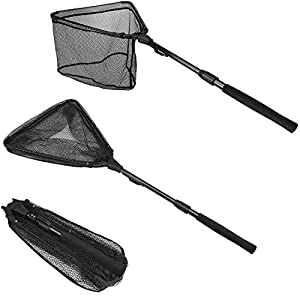 """PLUSINNO Fishing Net Fish Landing Net, Foldable Collapsible Telescopic Pole Handle, Durable Nylon Material Mesh, Safe Fish Catching or Releasing (16"""")"""