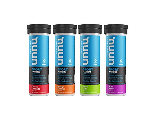 Nuun Sport + Caffeine: Electrolyte Tablets, Effervescent Hydration Supplement with caffeine, Mixed-flavor, Box of 4 Tubes (40 servings), Sports Drink for Replenishment of Essential Electrolytes