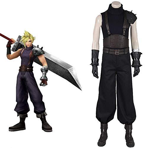 QQA Final Fantasy VII Remake Cloud Strife Cosplay Kostüm Anime Spiel Kleidung Full Set für Halloween Party,Schwarz,XXXL