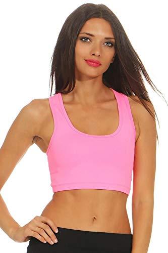 Mivaro Damen Sport Top bauchfrei einfarbig, anliegendes Crop Top, Bustier für Frauen, Größe:S, Farbe:Pink