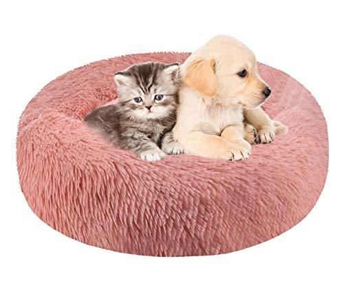 heekpek Cama para Mascotas Relajante Lavable Perros y Gatos Mascotas Cojín Redondo Suave de Felpa Mascota Cama Resbalón Prueba Felpa Gato Dormido Cama Pequeña Perro Cama de Gatos Suave