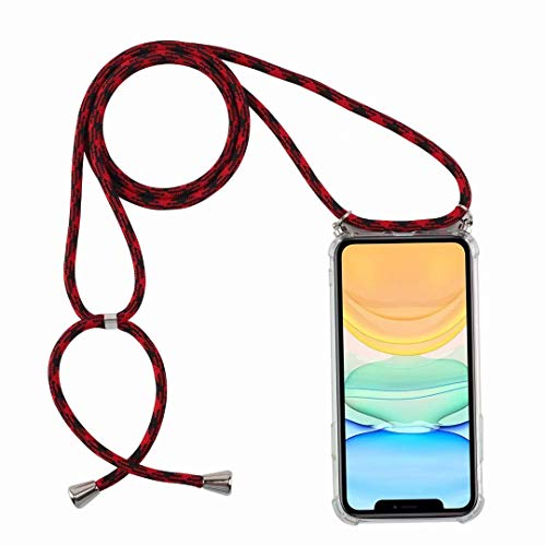 Bigcousin Handykette kompatibel mit Huawei Y5 2019/Honor 8S Hülle,Necklace Handyhülle mit Band,Transparent Silikonhülle,Schutzhülle mit Kordel in Schwarz Rot