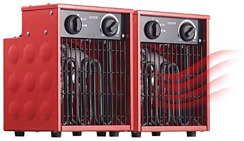 AGT Heizstrahler Baustelle: 2er-Set Profi-Industrie-Elektro-Heizlüfter, 2.000 Watt, 2 Heizstufen (Industrie Heizlüfter 230 Volt)