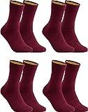 gigando – Socken Herren Baumwolle Uni Farben 4er oder 8er Pack in Premiumqualität – bunt farbige Strümpfe für Anzug, Business, Freizeit – ohne Naht - in bordeaux Größe 43-46