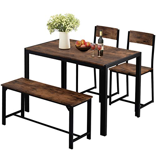Kslogin Dining Table and 3 Chairs, Industrial Style Bench Set, Retro Kitchen Dining Table Set. (Rustic Brown)