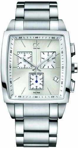Calvin Klein Bold Square Chr.Ste, K3047126 - Reloj de Caballero de Cuarzo, Correa de Acero Inoxidable Color Plata