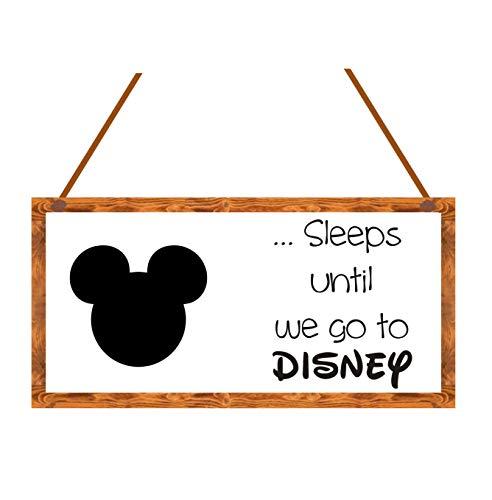 agiftforyou Disney Countdown Chalkboard Plaque - Sleeps until we go to Disney