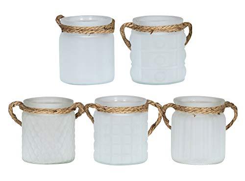 levandeo 5er Set Windlicht H10cm Glas Weiß Teelichthalter Tischdeko Kerzen Deko Retro Kerzenhalter Flachs