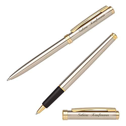 Senator Schreibset DELGADO CLASSIC STEEL 6100 Kugelschreiber Tintenroller mit persönlicher Gravur und Geschenk-Etui