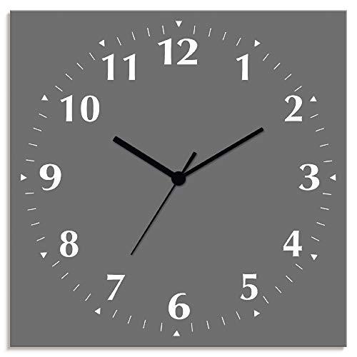 Artland Wanduhr ohne Tickgeräusche Alu Funkuhr lautlos Größe: 30x30 cm Trendfarbe Grau S7KC