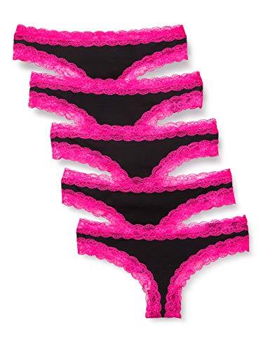 Amazon-Marke: Iris & Lilly Damen Tanga aus Baumwolle mit Spitze, 5er-Pack, Schwarz (Black With Neon Pink Trim), M, Label: M