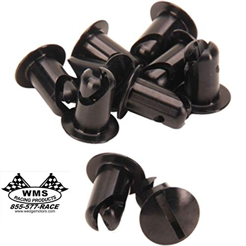 """Dzus Fasteners Slotted Oval Head 7/16"""" .500 Grip Aluminum Black 10 Pack WMS Racing Products"""