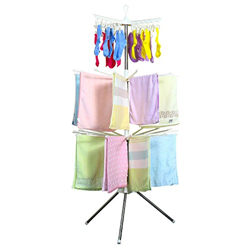 BAOYOUNI Collapsible Clothes Drying Rack 3-Tier Indoor Outdoor Space Saving Stand Hanger with 24 Clips and 32 Towels Bars for Baby Clothes, Cloth Diapers, Socks, Bras, Towels, Underwear (Ivory)