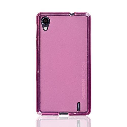 caseroxx TPU-Hülle & Bildschirmschutzfolie für Medion Life E4005 MD 99253, Set (TPU-Hülle in pink)