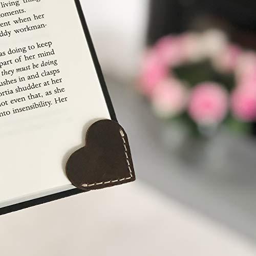 Segnalibro ad angolo in pelle pieno fiore a forma di cuore