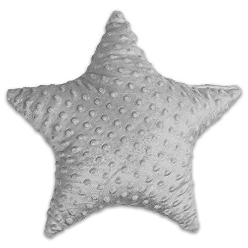 Dekokissen kinderzimmer Kissen Stern - Plüschkissen für Kinder Mädchen Jungen zierkissen ø 40 cm, hellgrau