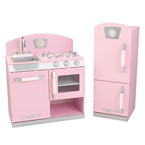 KidKraft Retro Wooden Play Kitchen and Refrigerator 2-Piece Set with Faucet, Sink, Burners and Working Knobs, Pink ,Gift for Ages 3+