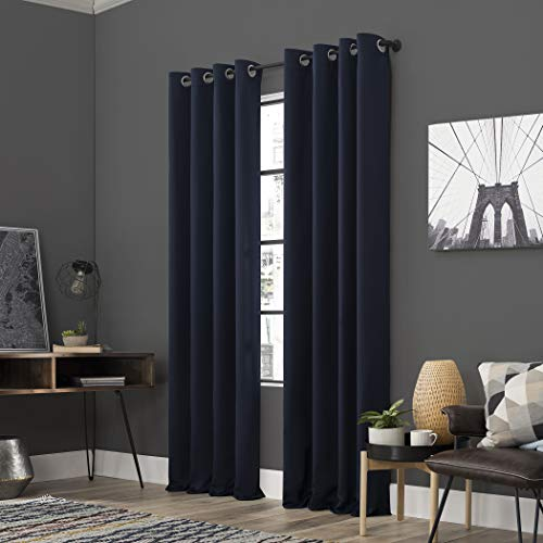 "Sun Zero Soho 2-Pack Energy Efficient Blackout Grommet Curtain Panel Pair, 54"" x 96"", Navy Blue"