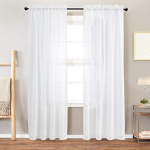 Vangao Linen Textrued Sheer Curtains for Living Room 84 Inches Length Semi Sheer for Bedroom Light Filtering Voile Rod Pocket Drapes,1 Pair,White