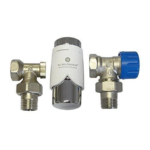 Ventilset Heizkörperanschluss mit Thermostat für Heizkörper, Badheizkörper Winkel und Durchgang (Ventilset, 90° weiß/chrom)