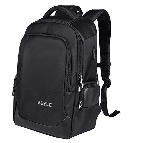 Laptop Backpack-Business computer bag Travel Backpack for Men&Women, Anti Theft Waterproof College School Bookbag with USB Charging Port Fits 15.6 inch Laptop Notebook, Black