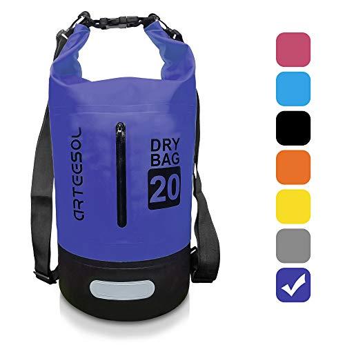 arteesol Dry Bag - 5L/10L /20L /30L wasserdichte Tasche/Packsack, Dry Tasche, Tragbarer Trockensack mit Verstellbarem Schultergurt Geeignet für Kajak, Boot, Kanufahren/Angeln/Rafting(30L, Dunkelblau)