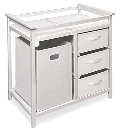 Badger Basket Modern Baby Changing Table with Laundry Hamper, 3 Storage Baskets, & Pad, Fresh White/White