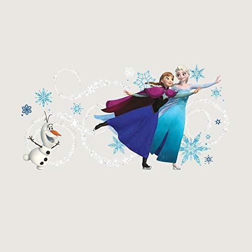 Sticker Géant Repositionnable Personnages de la Reine des Neiges Anna, Elsa et Olaf