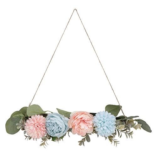 KESYOO Blue Peony Hydrangea Flower Wreath Flower Swag Garland Artificial Floral Swag Garland with Eucalyptus Leaves for for Window Mirror Wedding Door Tabletop Backdrop Decoration