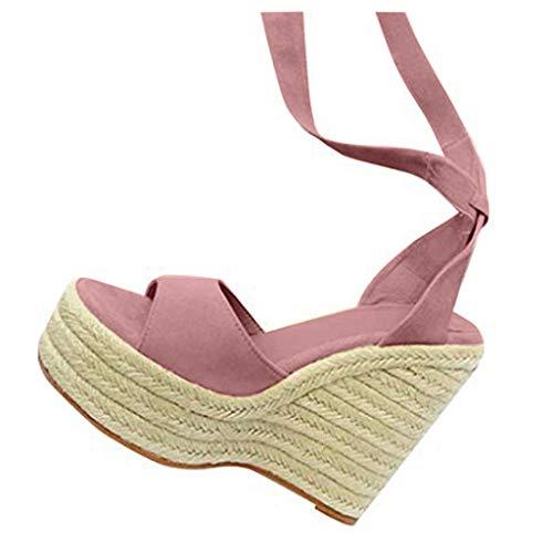 COZOCO Damenmode Open Toe Schuhe Wedges Thick Bottom Schnür-Strandschuhe Römersandalen(rosa,37 EU)