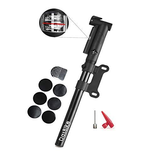 DasBike Mini Bike Pump with Pressure Gauge, Aluminum Alloy, Presta & Schrader Compatible, Frame Mount Bicycle Pump, Glueless Repair Kit Basketball, Football.
