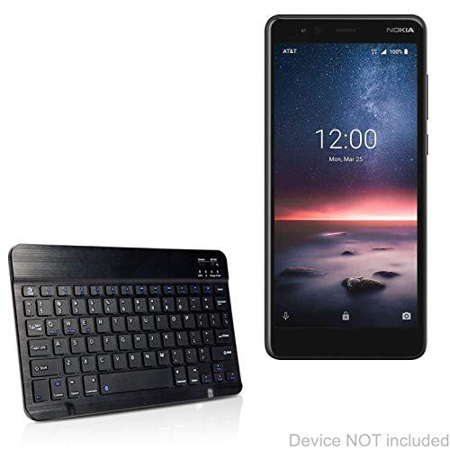 Nokia 3.1 Een toetsenbord, BoxWave® [SlimKeys Bluetooth Keyboard] Draagbaar toetsenbord met geïntegreerde opdrachten voor Nokia 3.1 A - Jet Black