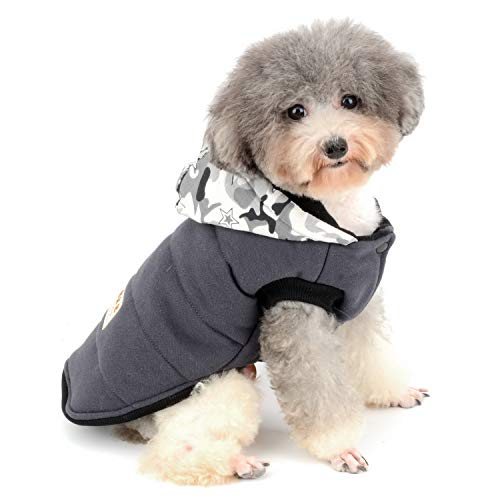 Zunea Chaleco para Perro pequeño Chaleco Camuflaje Forro Polar Sudadera con Capucha para Invierno cálido Cachorro Ropa de algodón Suave Mascota Gato Sudadera Chihuahua Ropa Gris M