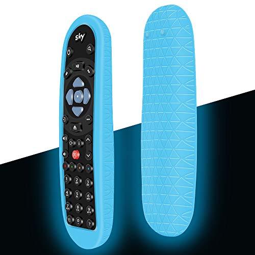Schutzhülle für Sky Q Fernbedienung EC101/Non-Touch Original Smart TV Universal Ersatz Fernbedienungen, Silikon Hülle Cover Case Anti-Rutsch Stoßfest für Sky Q/Silber/Mini Box Remote (Glow Blue)
