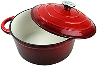 Dutch Oven Enameled Cast Iron Pot with Dual Handle and Cover Casserole Dish - Round Red 10.23