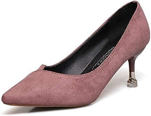 HOESCZS Talons Hauts Nouveau Printemps Et L'été des Femmes Noires à Talons Hauts Amende avec Une Fille dans Les Chaussures Simples à Talons Pointus Chaussures pour Femmes