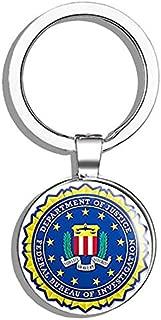HJ Media FBI Seal Shaped (Federal Bureau Investigation Logo) Metal Round Metal Key Chain Keychain Ring