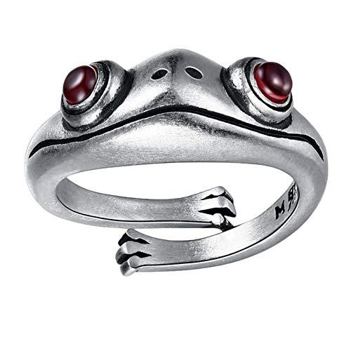Anillos abiertos de rana vintage, anillos de rana Anillos abiertos de rana plateada Anillos ajustables Anillo de dedo de animal lindo vintage de plata Anillos de personalidad de moda para mujeres