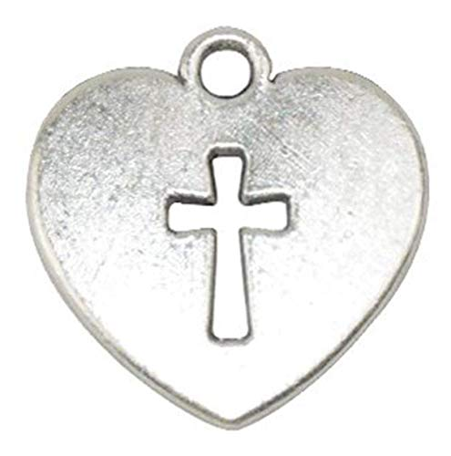 Yansanido Pack of 50 Alloy Antique Love Heart with Cross 17x16mm Charms Pendants for Making Bracelet and Necklace (Love Heart Cross 50pcs silver)