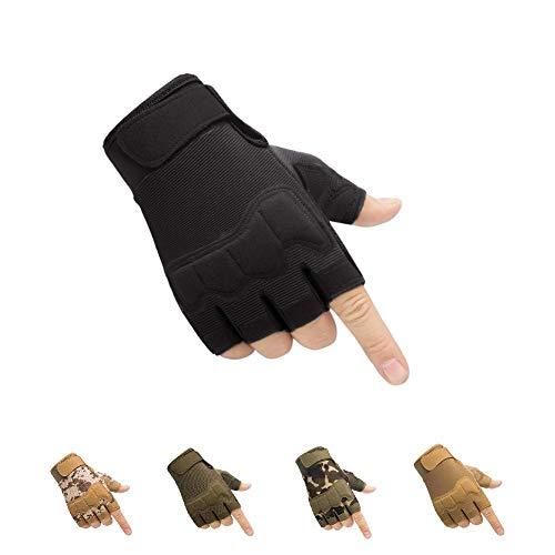 HYCOPROT Guantes Tácticos sin Dedos, Nudillos Protectores Transpirables Ligeros Guantes Militares al Aire Libre para Disparar, Cazar, Motociclismo, Escalada (Negro, X-Large)